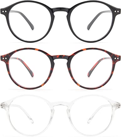 MIGSIR 3 Pack Blue Light Blocking Glasses for Computer Gaming Eye Strain, Round Fashion Fake Eyeglasses Frames for Women Men