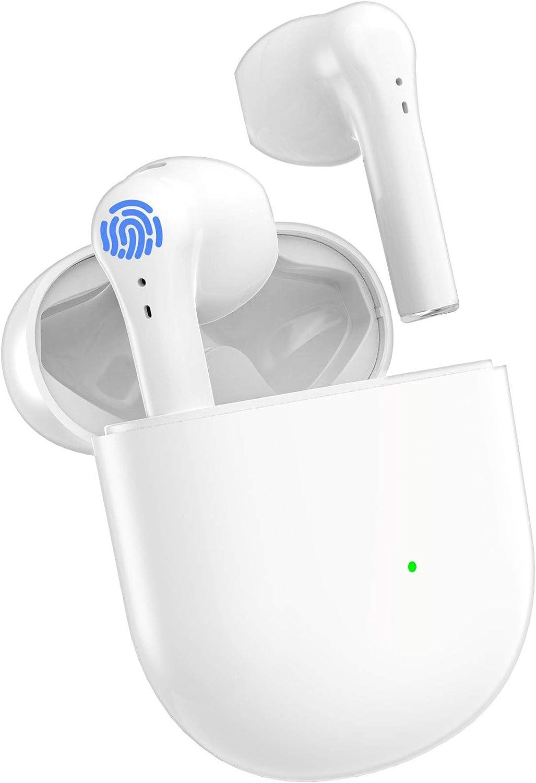 Auriculares Inalámbricos, Auriculares Bluetooth 5.0 con Micrófono, Caja de Carga Portátil con Carga de 24 Horas, IPX5 Impermeables Auriculares Inalambricos para iPhone/Android/Airpods Pro
