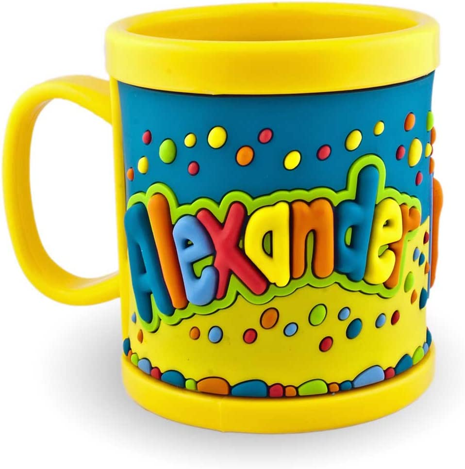 My Name Mug ALEXANDER 3D Cup Yellow For Children Plastic