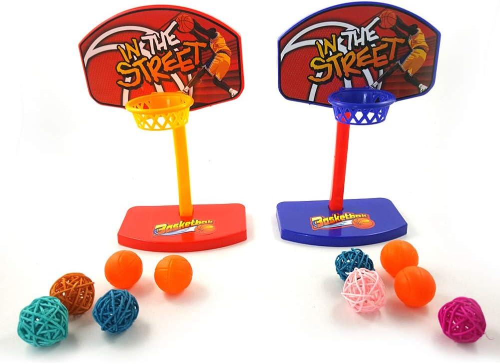 Amyove Mini Bolas de aro de Baloncesto Masticar Juguete para Mascotas Pájaros Loro Color Aleatorio