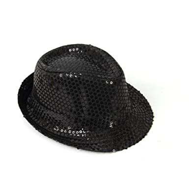 fa61371f64d HOT FASHION ADULT UNISEX FEDORA TRILBY GANGSTER SEQUIN HAT GLITTERY JAZ UNISEX  CAP HIPHOP FANCY DRESS