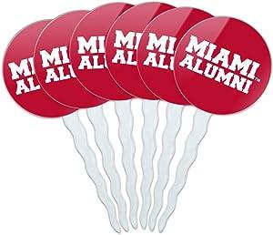 GRAPHICS & MORE Miami University Redhawks Alumn Cupcake Picks Toppers Decoration Set of 6