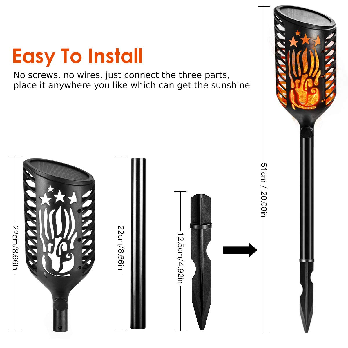 Lantoo Solar Torch Lights 3 Modes for Garden Patio Lawn Yard Pathway 4 Pack Lankdeals Dusk to Dawn Auto On//Off Outdoor Waterproof Dancing Flickering Flames Tiki Torches Landscape Decoration Lighting