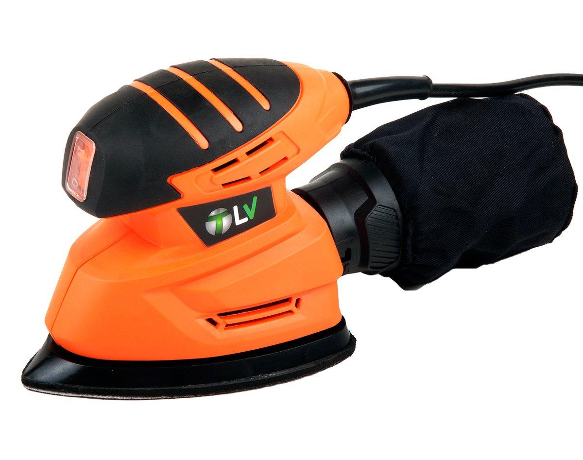 TeloVendo VPFS Lijadora de Mano Mouse Delta Triangular Electrica 130W, Naranja, 10x20x13cm TLV