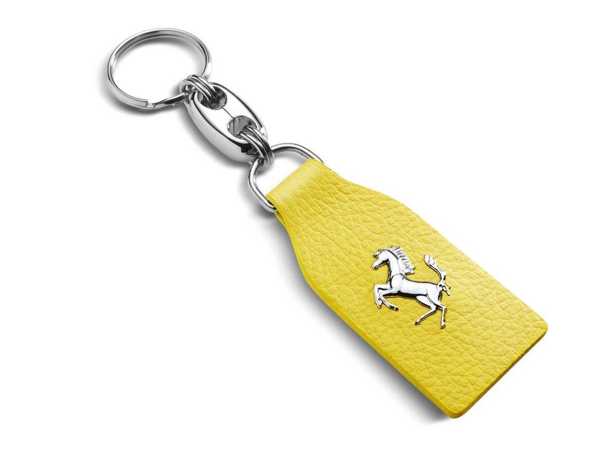 Authentic Ferrari Classic Yellow Leather Keychain 70003778