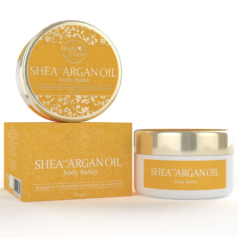 Body Cupid Shea & Argan Oil Body Butter – Shea Butter, Argan Oil & Honey for Glowingly Silken Soft Skin – No Parabens & Mineral Oils – 250 G