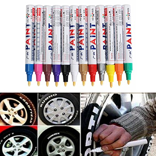 CoCocina 12Pcs Color Tyre Permanent Paint Pen Tire Metal Outdoor Marking Ink Marker Trendy - White - Non Spool Rear Stand