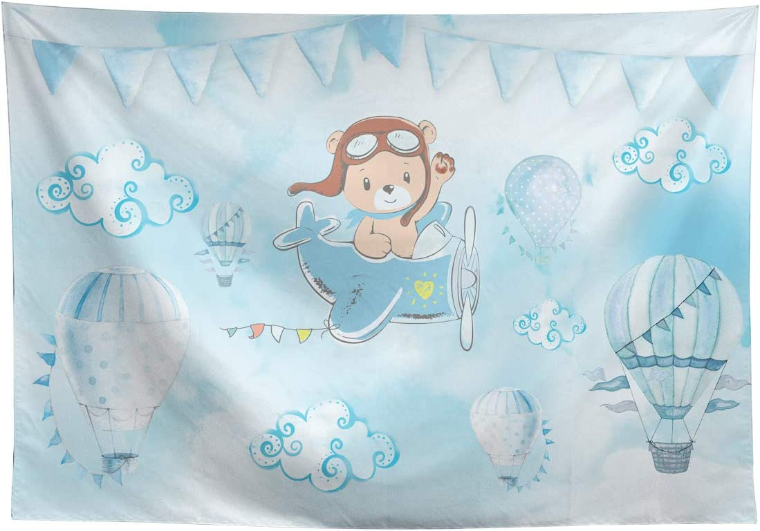 Allenjoy Blue Cartoon Bear Baby Shower Backdrop Newborn It's a Boy Prince Welcome Baby Hot Air Balloons Photography Background Cake Table Banner Decor Photo Booth Props 8x6ft
