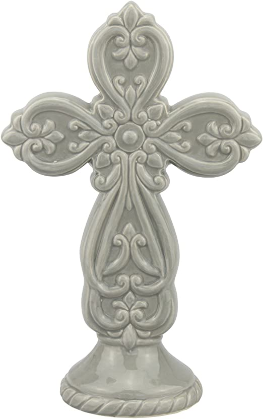 Stonebriar Accents of Faith 10 Chambray Ceramic Cross Pedestal