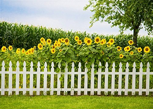 Leowefowa 12X8FT Nature Garden Backdrop Spring Blooming Sunflowers Corn Field White Fence Green Grassland Outdoor Backdrops for Photography Kids Adults Vinyl Photo Background Studio Props (Fence Backdrop)