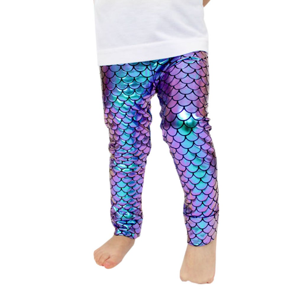 Baby Girls Clothes Mermaid Fish Scale Stretch Leggings Trousers