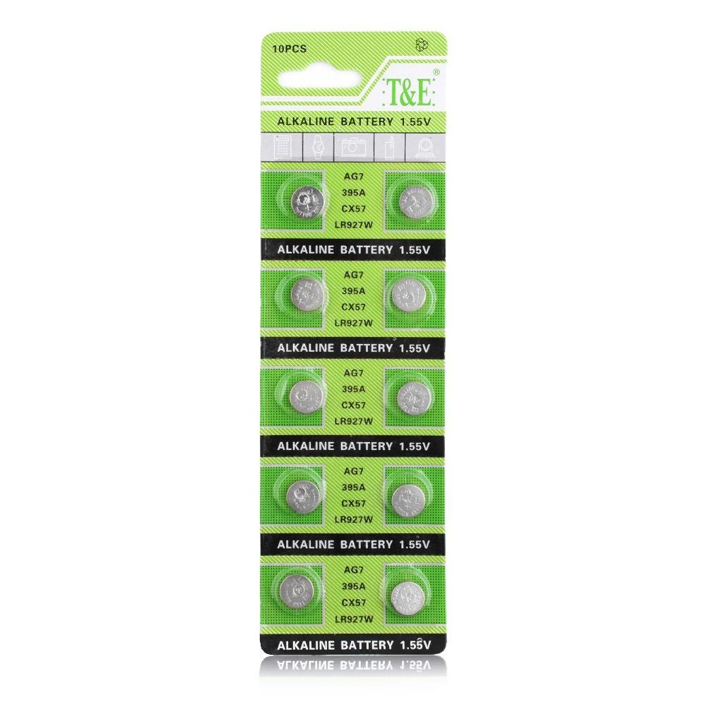 YCDC 10PCS AG7 LR927 395​A SP395 SR57 BUTTON CELL COIN ALKALINE BATTERY 1.55V FOR WATCHES