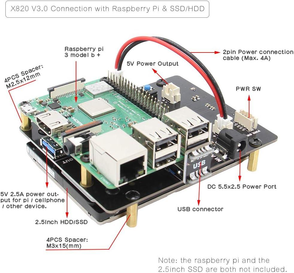 Geekworm Raspberry Pi 3 B+/3B SATA HDD/SSD Placa De Expansión Almacenamiento, X820 V3.0 USB 3.0 Módulo de Disco Duro móvil Compatible con SATA HDD/SSD/Raspberry Pi 3 Modelo B+ (B Plus)/3 Modelo B/2B: