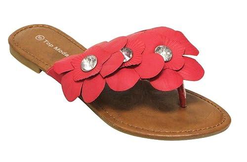 Len-2 women's rhinestone thong toe flower flip-flops