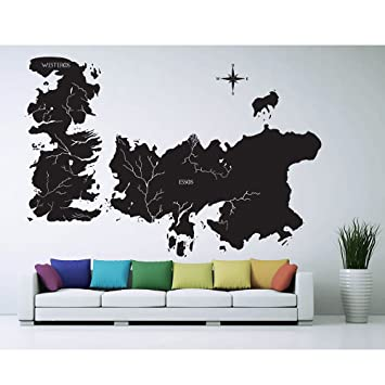Amazon game of thrones world map art wall sticker vinyl game of thrones world map art wall sticker vinyl decal wd 0708 gumiabroncs Gallery