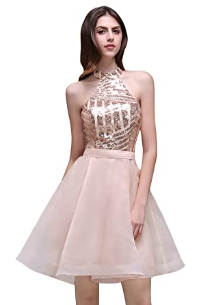 c8e77fd7d37 MisShow Women s Sequins Top A Line Organza Short Cocktail Homecoming Dress  US4 Rose Gold