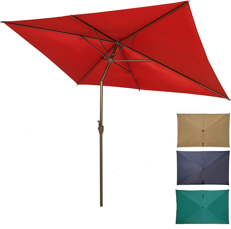 Ogrmar 6.5x10ft Patio Umbrella Rectangular Outdoor Table Umbrella with Crank & Push Button Tilt for Terrace, Backyard, Garden, Courtyard, Swimming Pool, Lawn (Dark Red)
