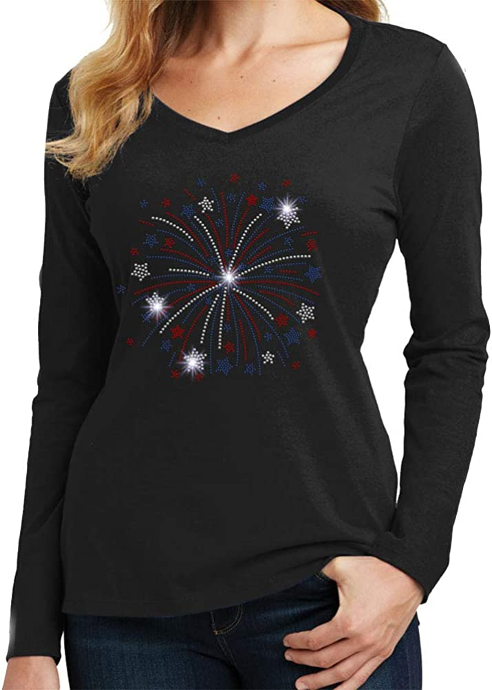 Beckys Boutique Patriotic Firework and Stars 4th of July Spangle Rhinestone Bling Shirt
