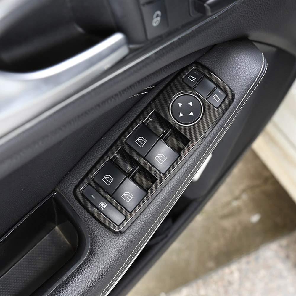 Auto Innenkohlenstofffaser ABS Fensterheberknopf Rahmen Trim fü r A B C E GLE GLA CLA GLK Klasse W176 W204 W212 W166 W218 Auto-broy