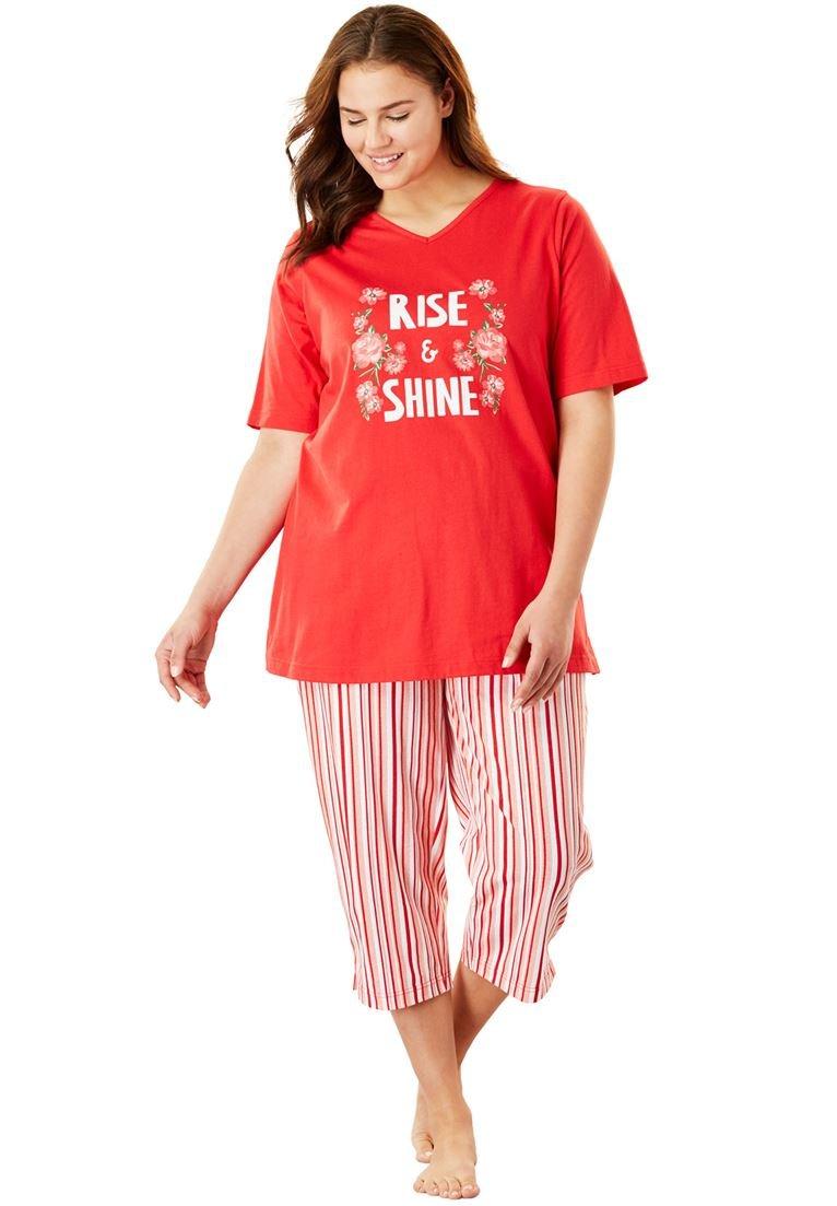 Dreams & Co. Women's Plus Size 2-Piece Capri Pajamas Coral Ruby Stripe,3X