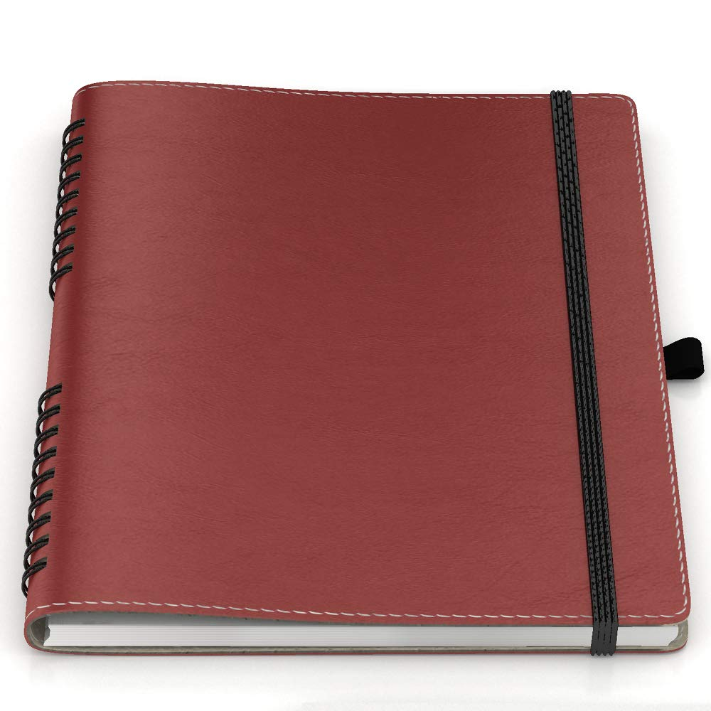 "Flexcover Notebook – Eurohide with Genuine Leather Lining. 6.75"" x 8.75"", Elastic Closure, Pen Holder (Black) Imagine 121"