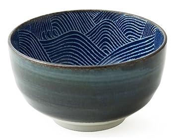 Miya Japanese 5u0026quot; Blue Waves Design Aranami Bowl