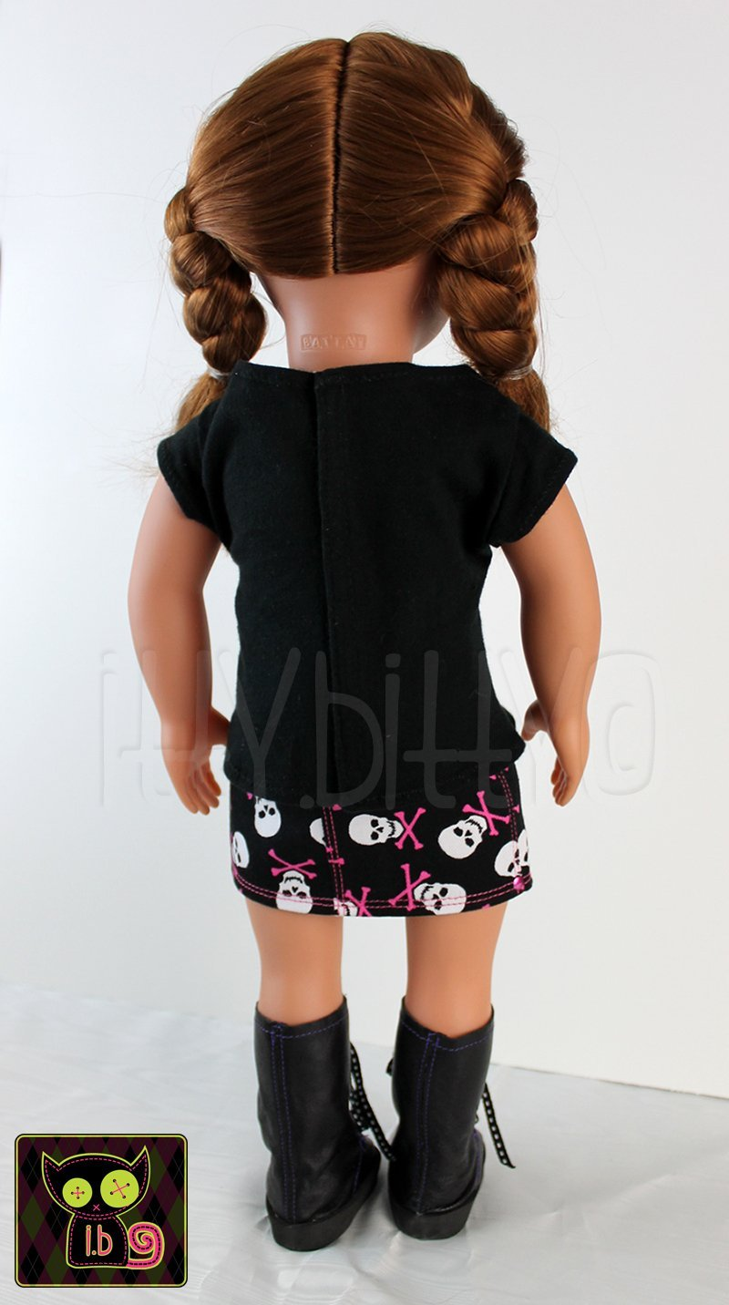 Skull /& Crossbones Jean Skirt for 18 Inch Dolls