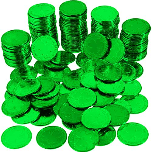 Zhanmai 120 Pieces St. Patrick's Day Coins Shamrock Lucky Plastic Coins Table Scatter Decoration for Party Favor Supplies (Green)