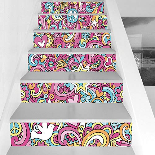 (Stair Stickers Wall Stickers,6 PCS Self-adhesive,Groovy Decorations,Psychedelic Complex Funky Decorative Patterns Stars Back to 60s Fun Retro Artsy Print,Multi,Stair Riser Decal for Living Room, Hall,)