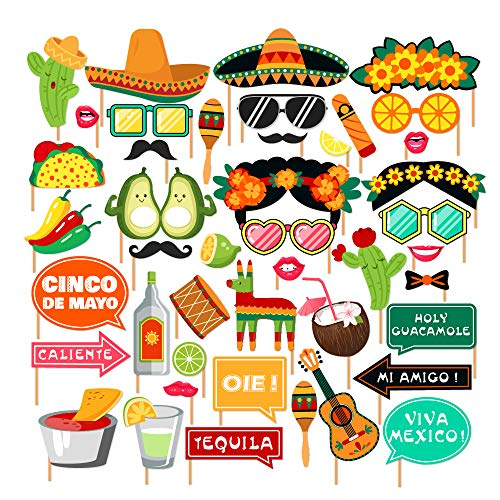 CC HOME Mexican Fiesta Party Supplies, Fiesta Photo Booth Props,Selfie Props for Southwestern Party,Carnival Party,Wedding,Birthday Party,Baby Shower, Cinco De Mayo Party Decorations 44pcs ()