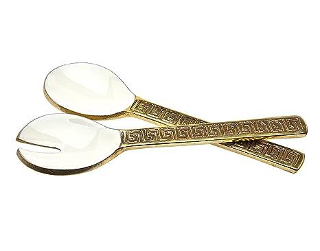 Godinger Salad Server Fork Spoon Set Hammared Design