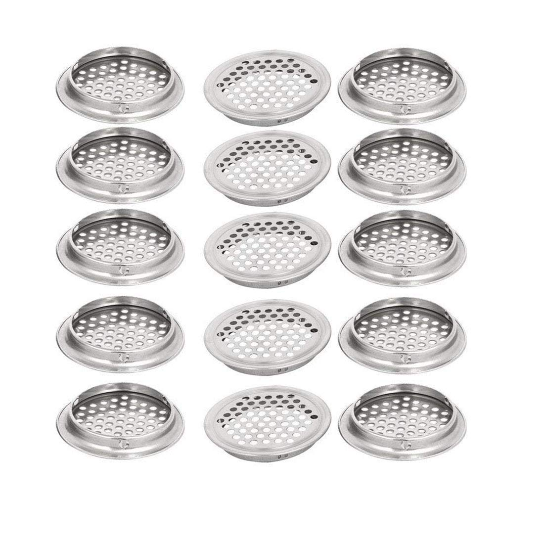 LDEXIN 15pcs Stainless Steel Air Vent Louver 53mm/2.08'' Bottom Diameter Round Perforated Mesh Cabine Cupboard Hole Air Vent Cover Louver for Kitchen, Garderobe,Wardrobe,Bathroom(15Pcs)