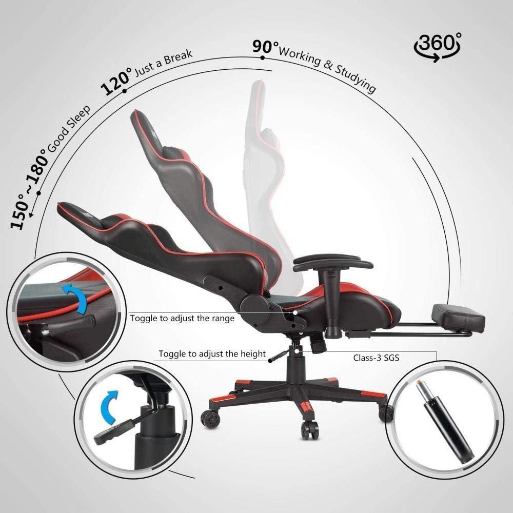 Datorstol spelstol hög rygg svängbar ergonomisk verkställande kontor läder stol fotstöd justerbara armstöd knästol (färg: Röd) BLÅ