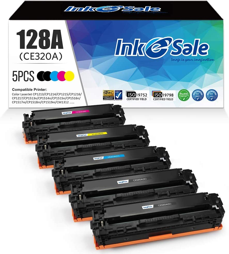 INK E-SALE Remanufactured Toner Cartridge Replacement for HP 128A CE320A CE321A CE322A CE323A Canon 116 for use with HP Color Laserjet CP1525n CP1525nw CM1415fn CM1415fnw Printer, 5 Pack