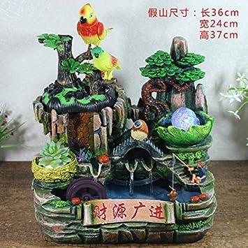 Feng Shui suerte ronda adornos rocalla fuente de agua sala Oficina decoracion acuario bonsái la apertura de regalo de bienvenida,893 acorde con ...