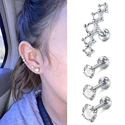 Florideco 19-24PCS 16G Surgical Steel Cartilage Tragus Earring Stud CZ Forward Helix Earring Lip Septum Ring Labret Stud Monroe Piercing Nose Ring Hoop for Women Men