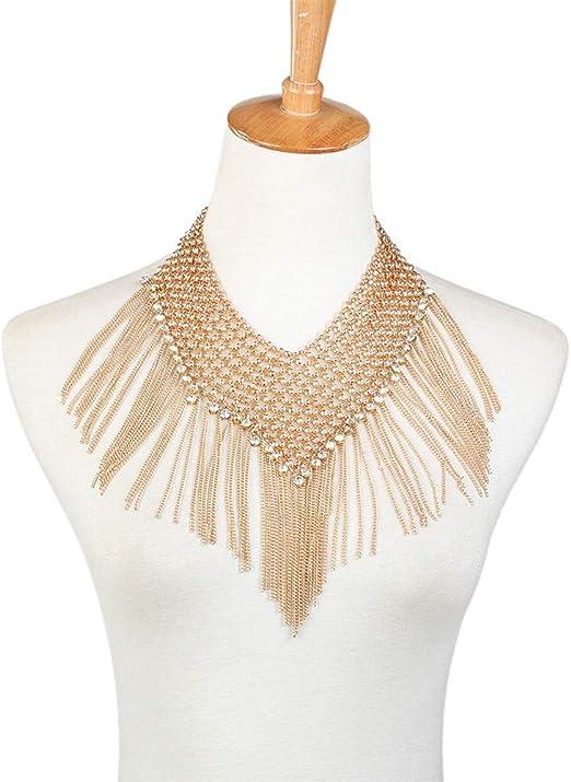 Cadena de Cuerpo Collar de borlas de Diamantes Sexy Mujer Cadenas ...