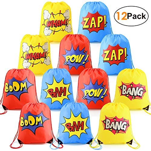 Superhero-Party-Supplies-Favor-Bags-Drawstring Backpack 12 Pack Cinch Bag Bulk for Kids Girls Boys Birthday Gifts Yellow Blue -