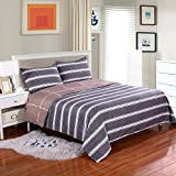 Hotel Quality Microfiber Reversible Duvet Cover Set Striped Pattern Twin 2 Piece Includes 1 Pillow Sham