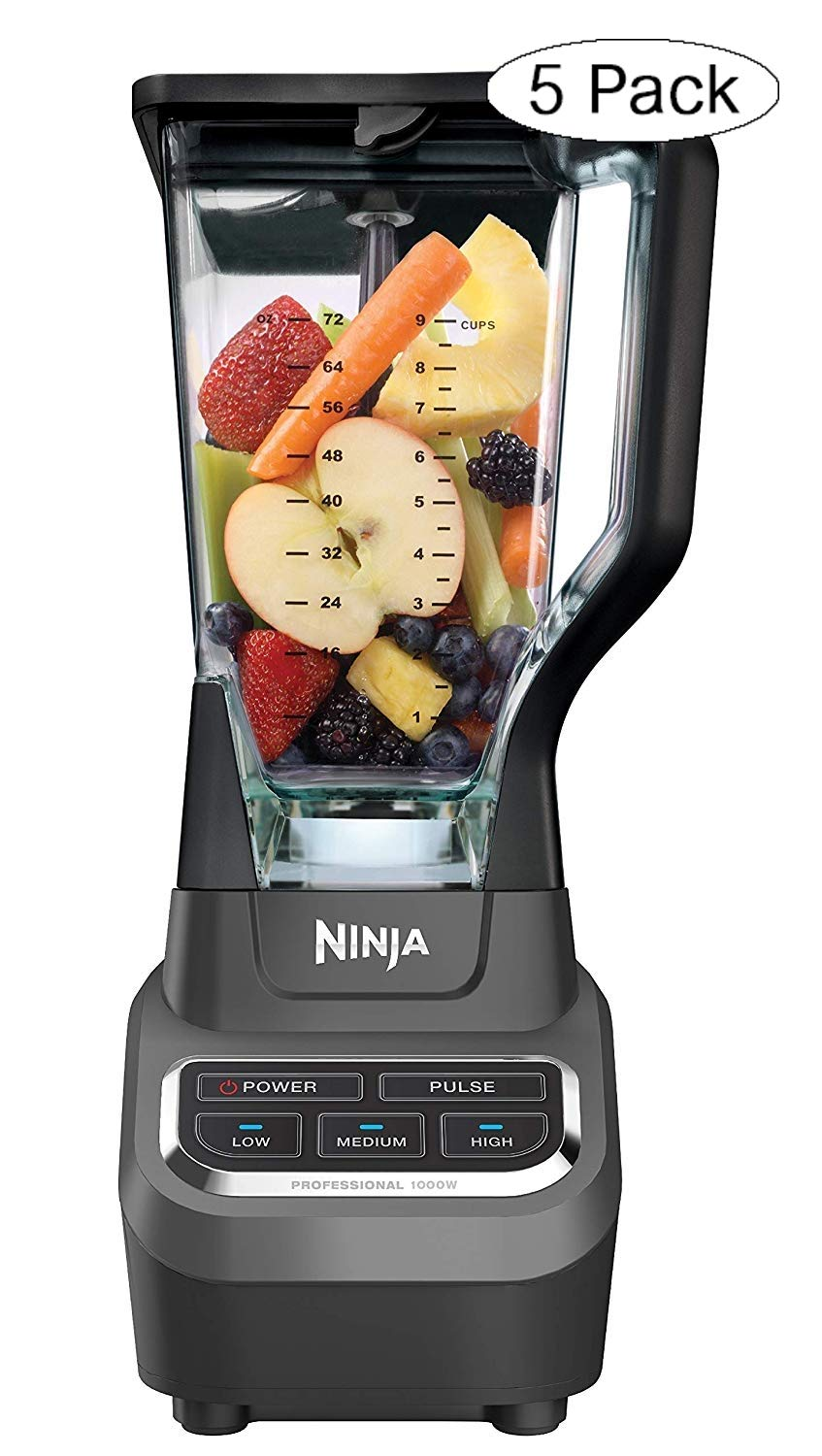 Ninja Professional 72oz Countertop Blender with 1000-Watt Base and Total Crushing Technology for Smoothies, Ice and Frozen Fruit (BL610), Black (Fivе Расk)