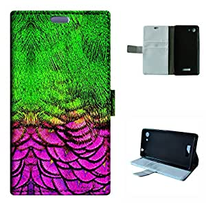 Bloom 2 case, SoloShow(R) WIKO Bloom 2 4.7 inch case High Quality PU Leather Wallet Flip case, Green and rose pink feathers pattern (Style11)