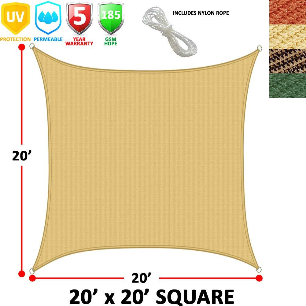 Modern Home Sail Shade Rectangle (20' x 20') - Beige