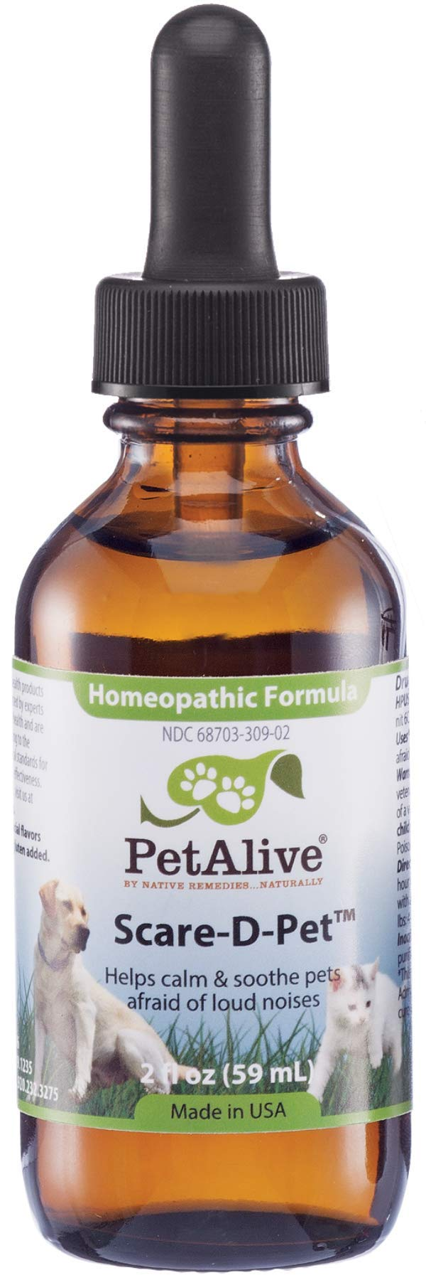 PetAlive Scare-D-Pet for Fear of Loud Noises in Dogs & Cats, 59 mL by PetAlive