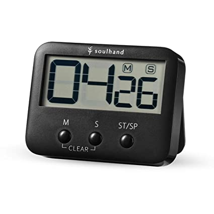 soulhand Temporizador Digital de Cocina, Pantalla LCD de Gran Tamaño, Resistente imán con Soporte, Alarma Fuerte, función de Memoria(Negro)