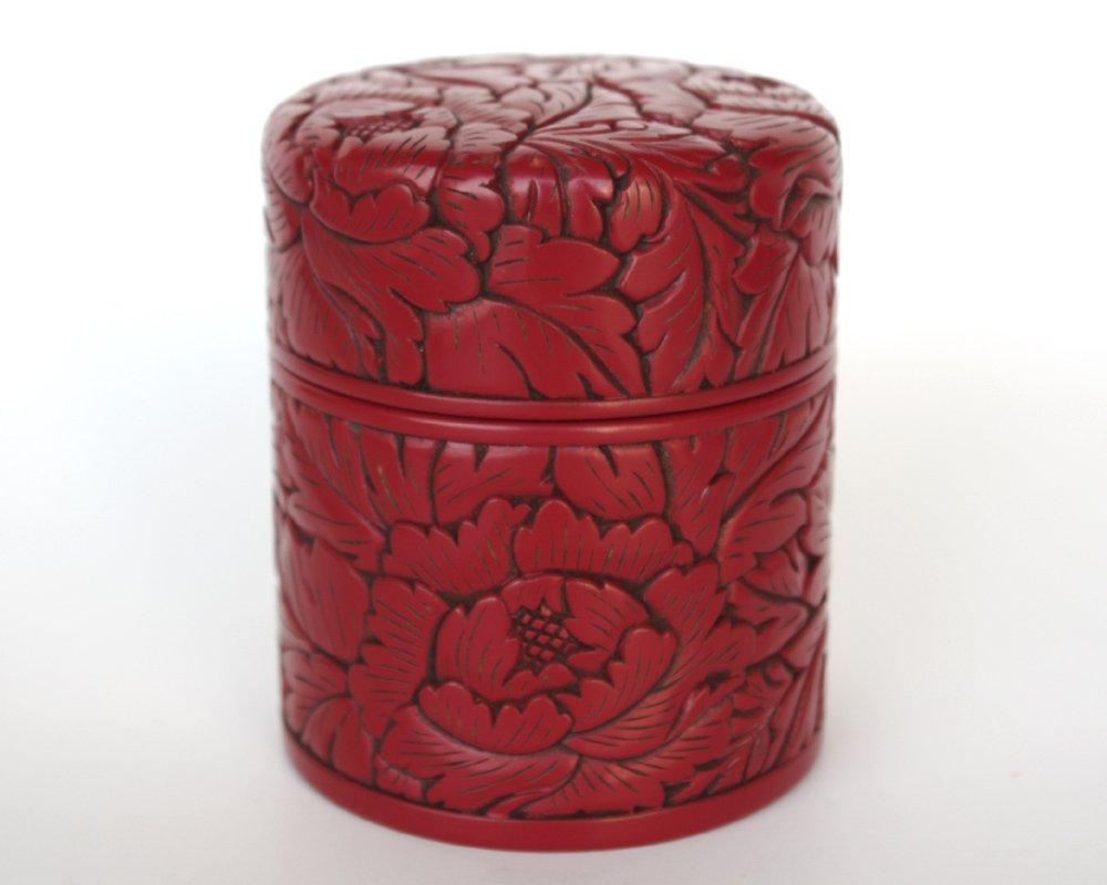 お見舞いのお返し【村上堆朱茶器】茶筒(小)唐草[伝統工芸品木彫堆朱] B009BL30C4
