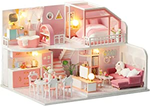 F&S Dollhouse Miniature with Tiny Furniture | DIY Mini Dollhouse Kit with LED & Dust Proof Cover | 1:24 Scale | Amazing Birthday or Christmas Day Gift