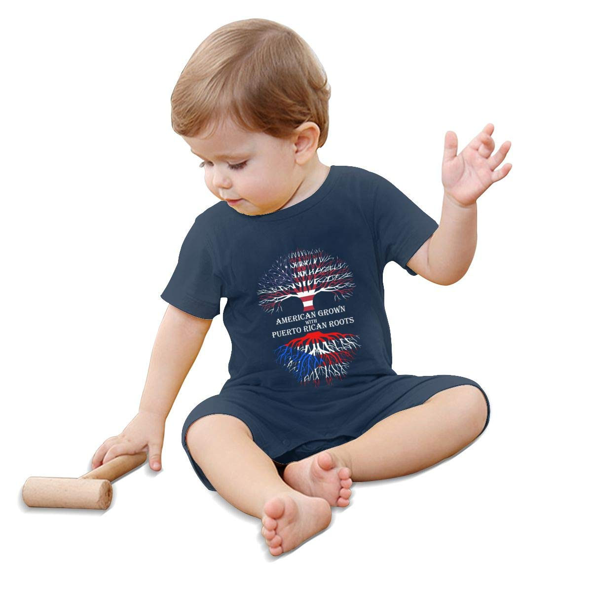 A1BY-5US Baby Infant Toddler Romper Jumpsuit American with Puerto Rican Roots Cotton Short Sleeve Infant Clothing