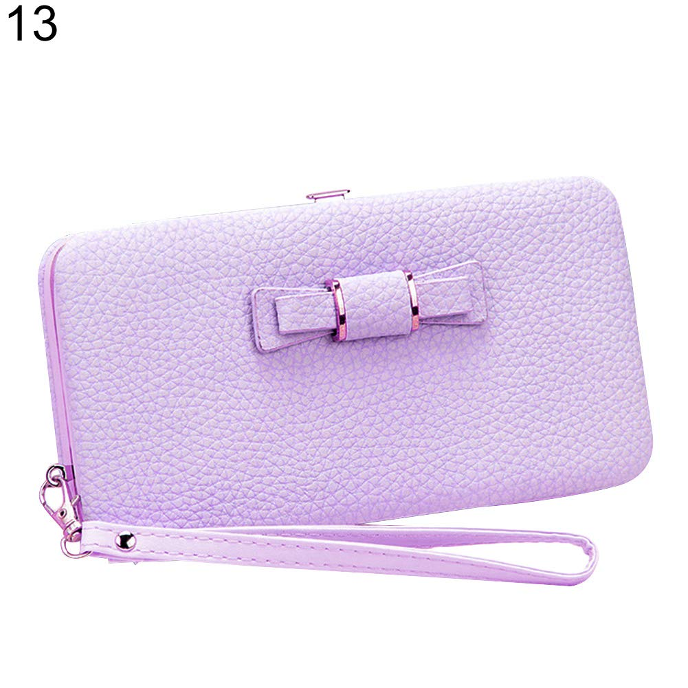 Connoworld Women Bowknot Faux Leather Wallet Purse Phone Pouch Card Holder Clutch Key Cash Coin Bag Gift
