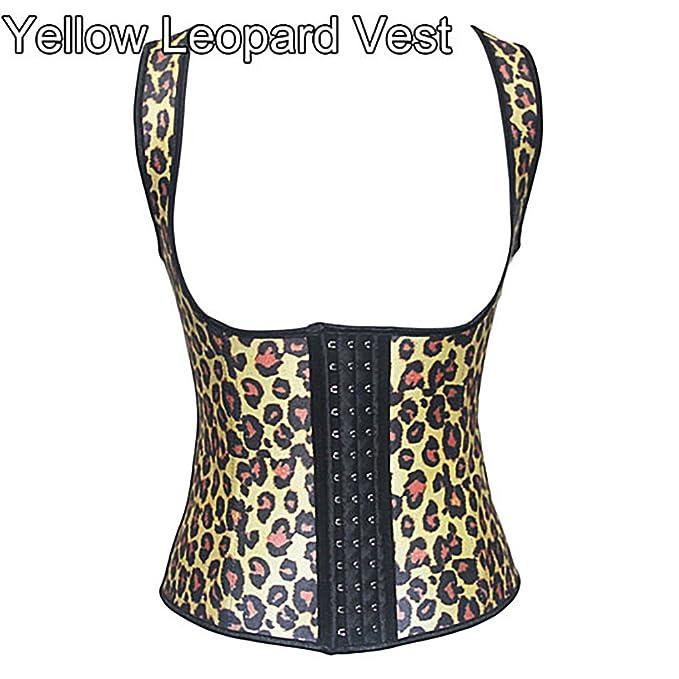 1a594359a88ff Latex Waist Trainer Corset Waist Cincher Underbust Corset Body Shaper  Shapewear (Yellow Leopard