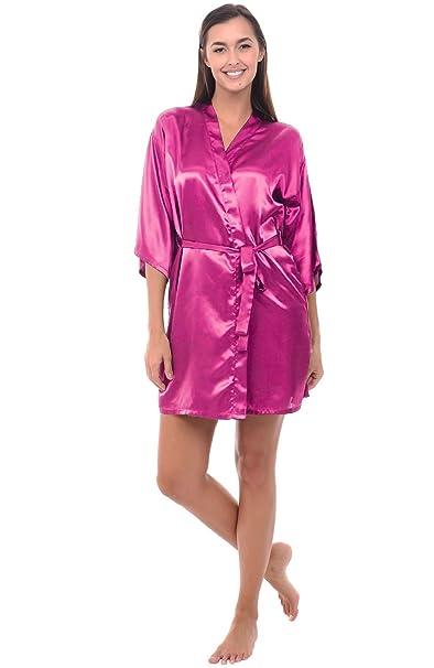 Alexander Del Rossa Womens Satin Robe, Mid-Length Dressing Gown ...